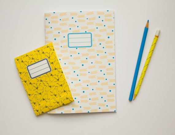 Back to school kit - Custom notebook and small notepad - pack of 2 (one of each) - custom patterns and colors
