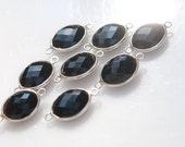 SALE - 2 Black Onyx Oval shaped Connector sterling silver 16.00 ON SALE 10.00