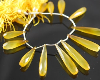 Long faceted yellow chalcedony drops