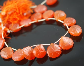 1/2 Strand of Carved Carnelian Hearts