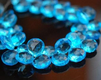 1/2 strand of swiss blue color hydro quartz hearts WHOLESALE 22.00