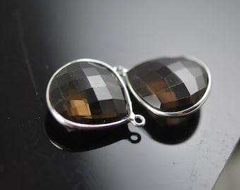 2 matching JUMBO  smokey quartz heart connectors 22.00 ON SALE 20.00
