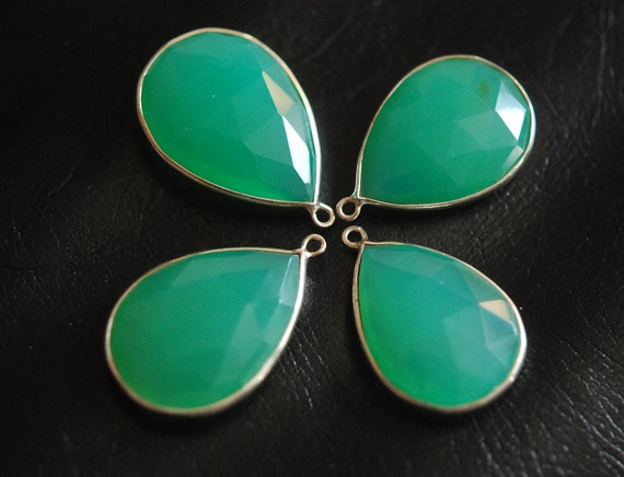 Not Matching Chrysoprase Connector in sterling silver 2 pieces
