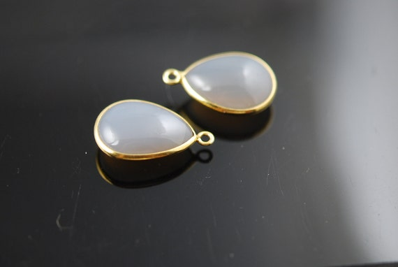 Not matching Grey chalcedony connectors in vermeil 2 pieces 20.00 ON SALE 18.00