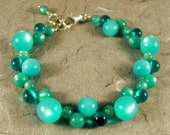 Aqua and Emerald Vintage Lucite Bracelet