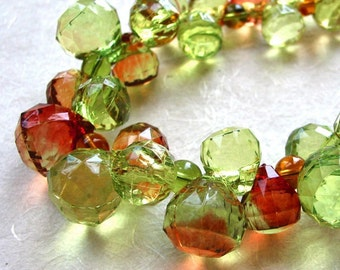 Green and Amber Faceted Grapes Necklace