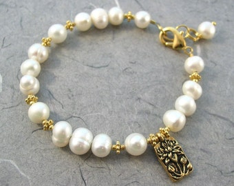 Gold Lotus and White Pearl Bracelet