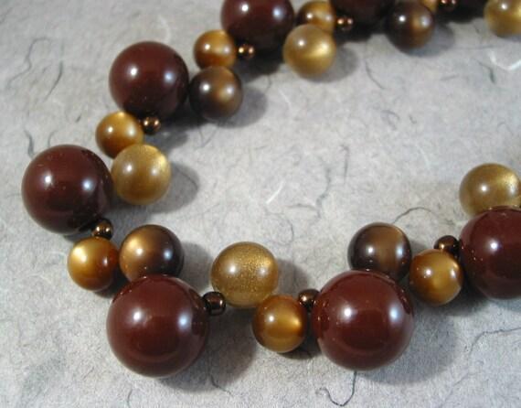 Bronze Vintage Lucite Bubbles Necklace