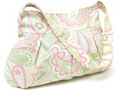 ON SALE Small Pleated Shoulder Bag Purse Pink and Green Pastel Paisley by LMcreation on Etsy