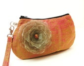 Bridal Clutch Pleated Wristlet Raw Silk Purse Orange with Yellow Green Pink Iridescence with Flower brooch