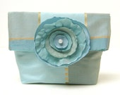 Foldover Pouch Make-up Clutch Bag Purse Organizer Winter Ice Blue Flower Shimmer by LMcreation on Etsy