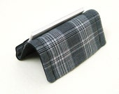 Card Holder or Card Stand Reversible Black White Plaid Checks on Grey