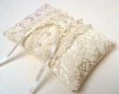 Wedding Ring Bearer Pillow Damask Tuxedo Lace in Antique Beige Satin