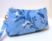 Clutch Purse Rectangular Wristlet - Berries Leaves in French Blue
