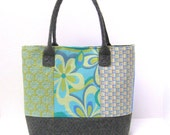 Shoulder Tote Bag Patchwork in Blue and Green