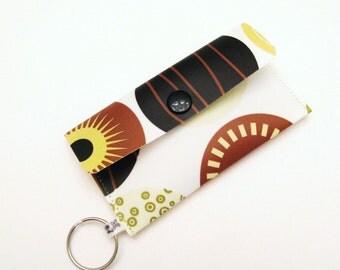 Business Card Holder Card Case Mini Purse Brown Retro Circles
