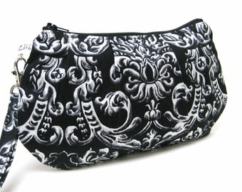 Bridesmaid Clutch Purse Pleated Wristlet  White Damask Scrolls on Black