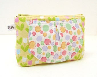 ON SALE Zipper Pouch with Pocket - Pink Blue Tulips and Dots on Yellow