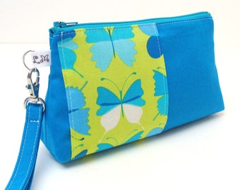Clutch Purse Wristlet - Butterflies on Lime Green and Blue