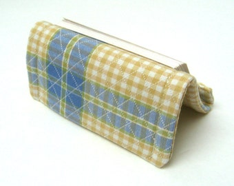 Business Card Holder or Card Stand Reversible Blue Plaid Stripes and Checks on Yellow