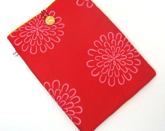 SALE, iPad Sleeve, iPad Cover, iPad Case:  Pink Flowers on Red and Yellow