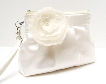 Wedding Clutch Purse Zippered Wristlet White Satin with Flower Brooch