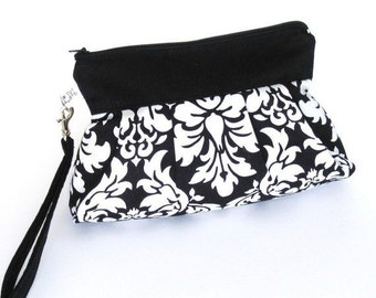 Bridal Wedding Clutch Purse Zippered Wristlet Black and White Damask