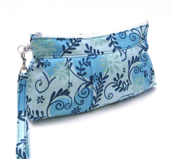 Large Zippered Wristlet Purse Blue Flowers with Glitter