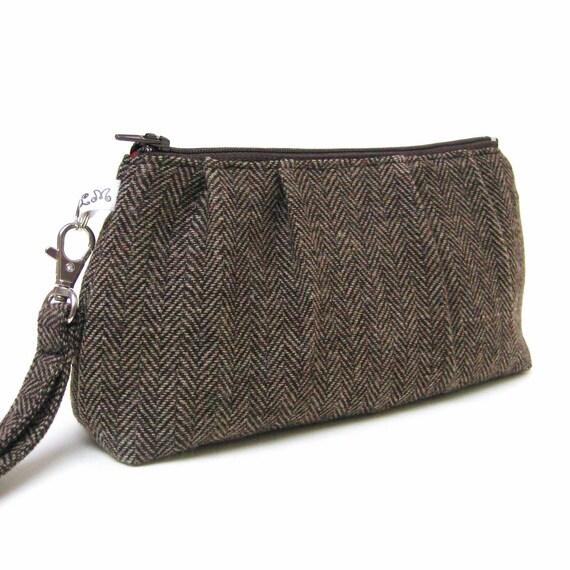 Clutch Purse Rectangle Wristlet Herringbone Wool in Warm Brown