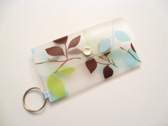 Business Card Holder Card Case Small Purse Pretty Leaves in Brown Green and Blue
