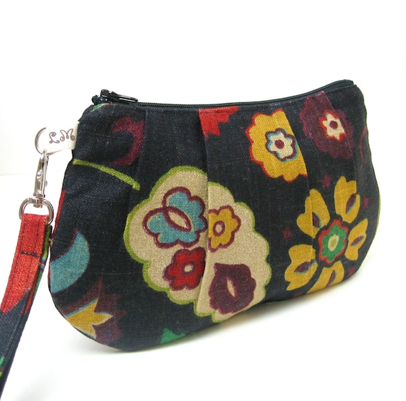 Pleated Wristlet Clutch Purse - Red Yellow Blue Flowers on Black