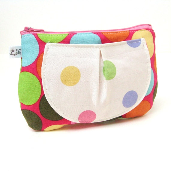 Zipper Pouch with Pocket - Blue Green Yellow Dots on Pink and White