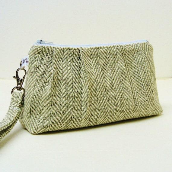 Rectangular Wristlet Clutch Purse - Khaki Grey Green Herringbone