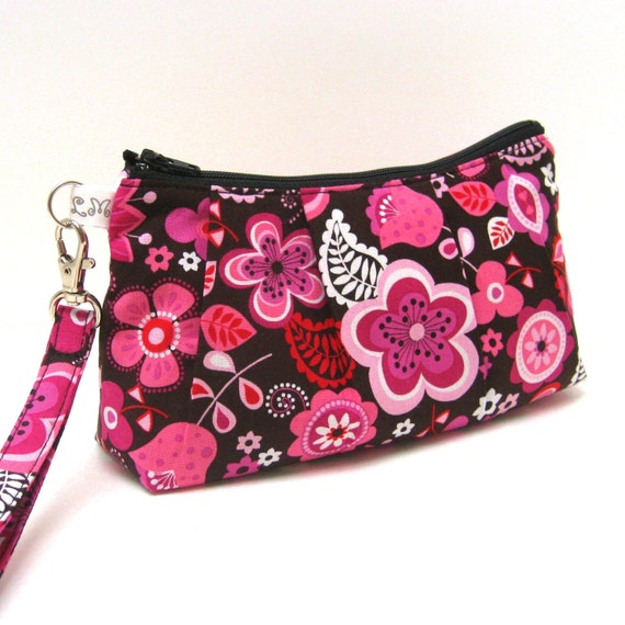 Wristlet Clutch Purse, Flat bottom - Flowers in Pink White and Brown