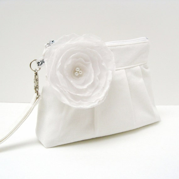 Zippered Wristlet Clutch Purse with Fabric Flower Brooch in White Reserved for Jessica