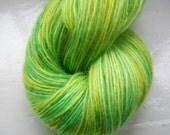 Hand painted yarn 100g. angora laceweight green yellow