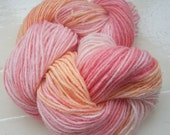 Sock yarn hand dyed merino alpaca 100g pink peach apricot