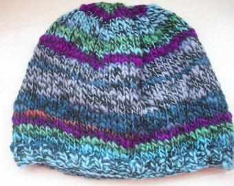 Classic design/ Contemporary colours handspun hand knitted unisex Merino and  Alpaca beanie hat  marled green blues purple