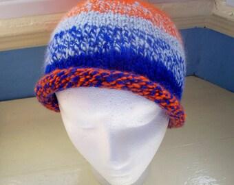 Man's beanie hat  handspun ooak blue orange