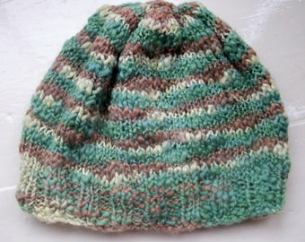 Child's beanie knit wool natural dyed green brown woodland colours