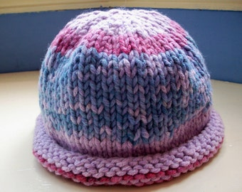 Beanie hat hand dyed cotton mix knit chunky berry colours