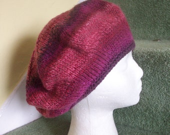 Slouchy beret big hair hat hand knitted wool blackcurrant purple