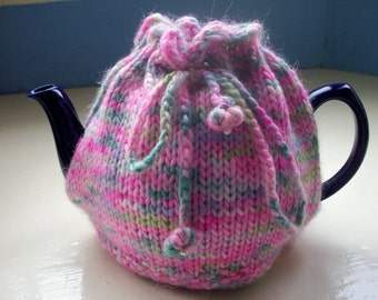 Tea Cosy hand dyed pink green apple blossom fun by SpinningStreak