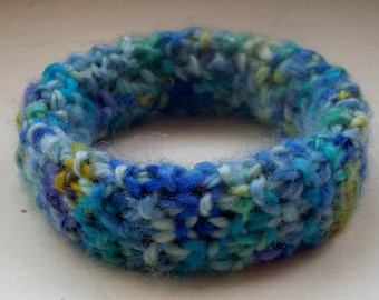 Blue bangle bracelet handspun hand dyed hand knitted merino