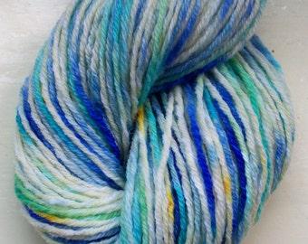 Hand painted yarn, merino, cashmere, mohair, blue aqua lemon ivory 50g by SpinningStreak