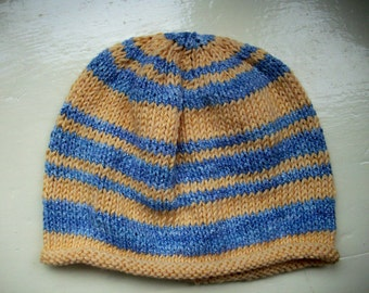 Classic cotton Baby Hat knit blue yellow