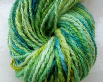 Handspun yarn, green wool, hand painted Blue Faced Leicester, silk, green, yellow, blue by SpinningStreak
