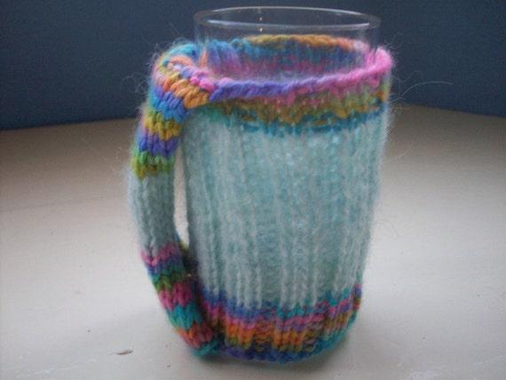 knit mug hug, mug warmer, cup cozy with handle, blue, rainbow
