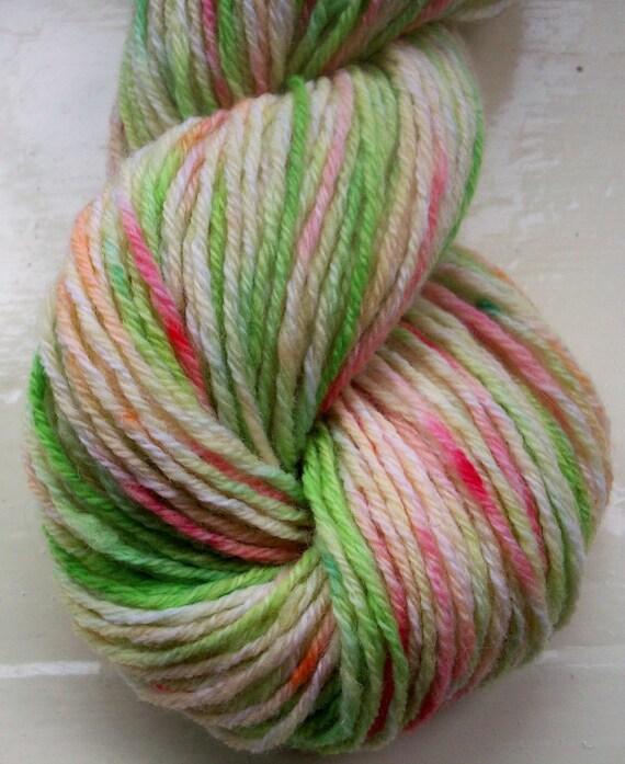 Hand painted yarn 50g merino cashmere angora  pink green ivory