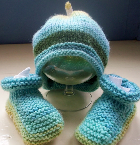 Vegan baby hat booties fun set aqua 6 to 9 months approx